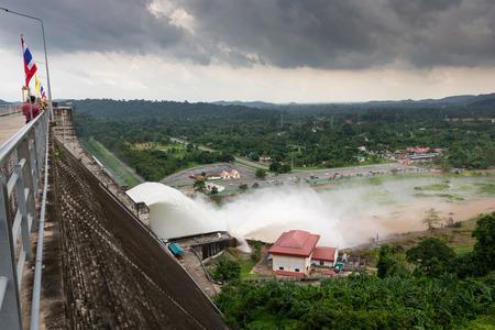 Khun Dan Prakan Chon Dam is Roller Compacted Concrete Dam at Nakornnayok Thailand In the rainy season.