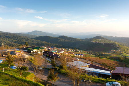 Resorts and residences of hilltribes in morning on Phu Thap Boek Mountains Lom Kao District, Phetchabun,Thailand