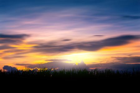 Sunset with dark clouds Standard-Bild