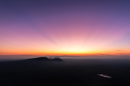Sunrise in the mountains landscape, fog and cloud mountain valley landscape, View from Pha Mo I Daeng, Khao Phra Wihan National Park, sisaket, thailand