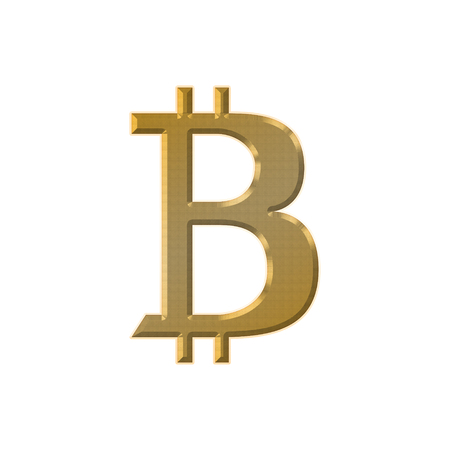 Bitcoin symbol isolated on white background. Physical bit coin. Digital currency.