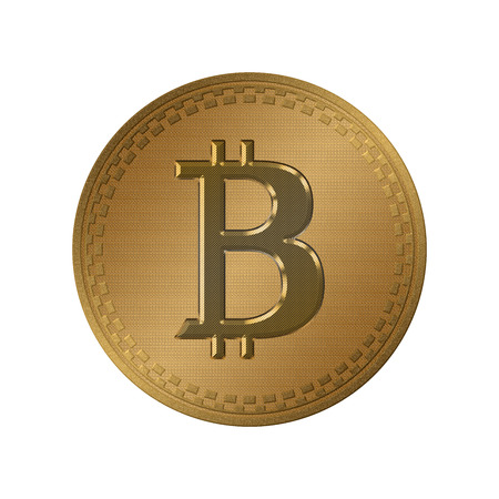 Golden coin with bitcoin symbol isolated on white background. Physical bit coin. Digital currency.