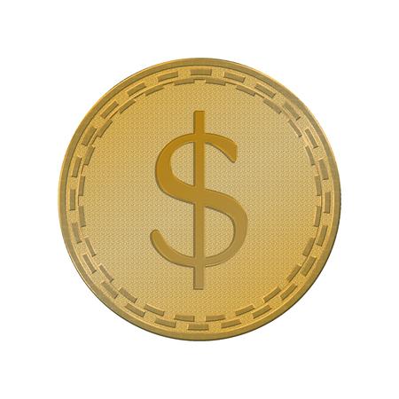 Golden coin dollar sign isolated on white background. Standard-Bild