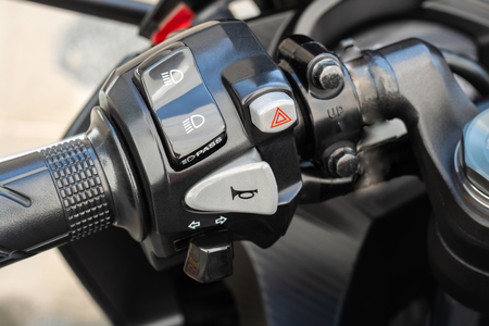 Handlebar with buttons of motorbike, switch control panel motorcycle horns button,High headlight and pass, turn signal, emergency light
