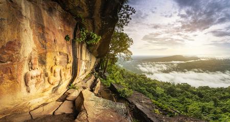 THE MILLION YEARS 3 FAIRIES CARVING UNDER THE CLIFF, Pha Mo I Daeng, Khao Phra Wihan National Park, sisaket, thailand.