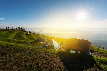 Camping at the climbing Phu Thap boek in morning on Phu Thap Boek Mountains Lom Kao District, Phetchabun,Thailand