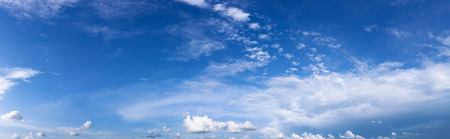 Beutyful blue sky with white cloud. Panorama.