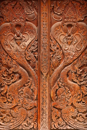 Carved wooden windows. photo
