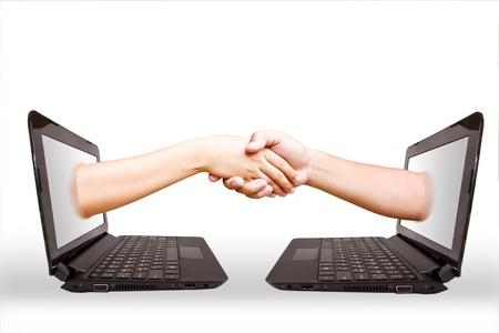 Hand laptop. Stock Photo