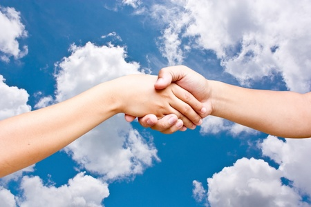 helpfulness: Hand the sky. Stock Photo