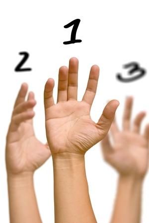 Raise ones hand photo