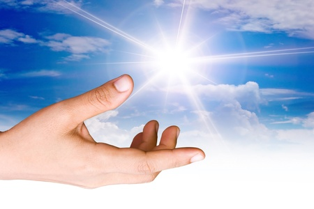 hope symbol of light: Hand the sun.