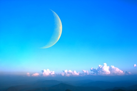 Moon and mountains. Stock Photo - 11254560
