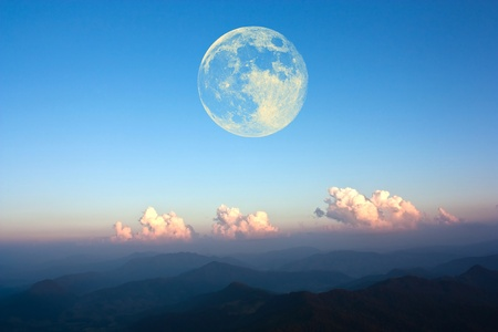 full moon effect: Moon and mountains.