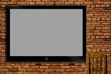 TV on the wall. Stock Photo - 11814934