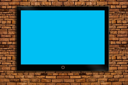 screen tv: TV on the wall. Stock Photo