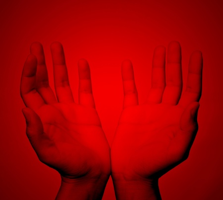 Red hands. photo