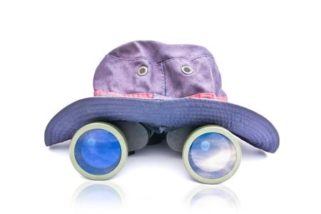 Hiking hat and binoculars  photo