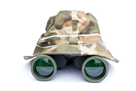 Hiking hat and binoculars  photo