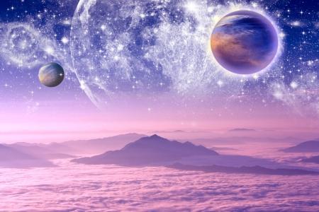 Planeten in den Raum und die Sterne mit galaxes