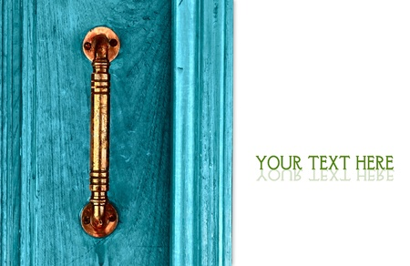 Door handles with an old double wood door painted with blue Stock Photo - 13752768