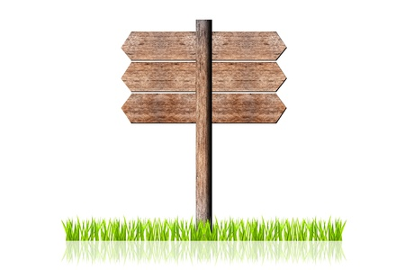 wooden signboard with green grass isolated photo