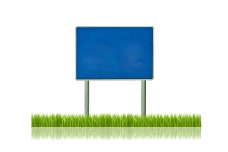 Traffic sign on grass photo