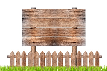 wooden sign and fence on clear photo