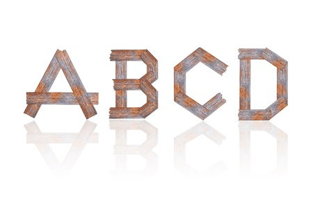 Alphabet - letters from wooden boards. Isolated over white photo