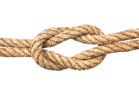 ship ropes with a knot isolated on white background photo
