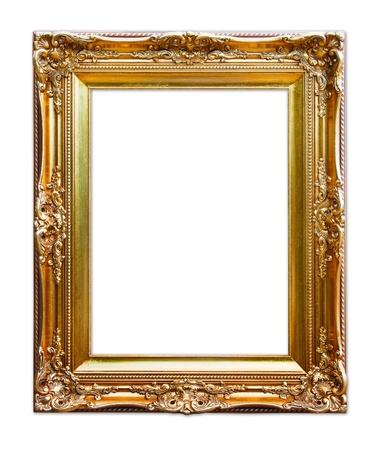 Gold Bilderrahmen. isoliert auf weiß Standard-Bild