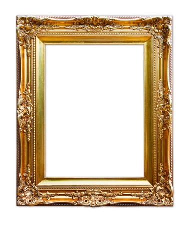 gold picture frame. isolated on white photo