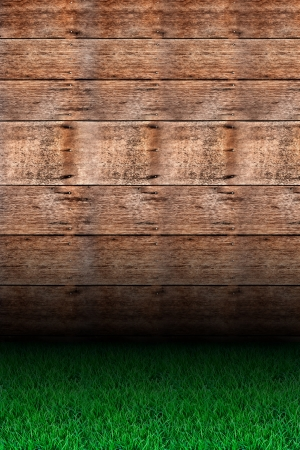 Grass and wood. photo