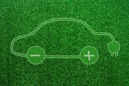 Grüne ökologischen Elektroauto Zeichen.