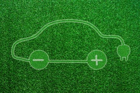 electric automobile: Green ecological electric car sign.