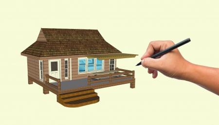 tabulation: Hand-writing House  Stock Photo