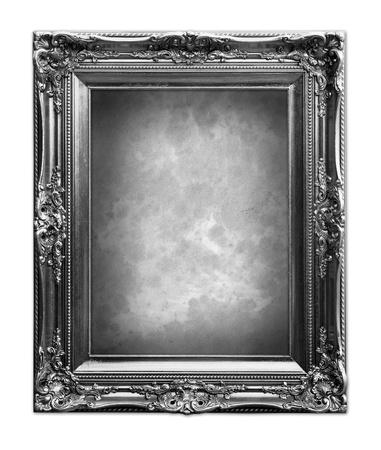 Baroque picture frame: Cadre de luxe vintage en noir et blanc. Banque d'images