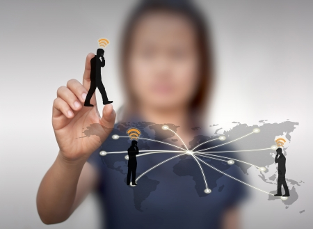 Business woman with a communication technology. photo