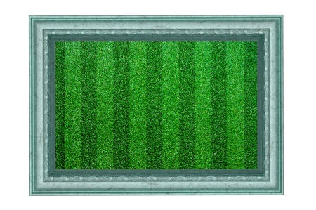 Grass frame isolated on white background. photo