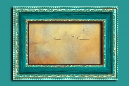 Frame on a vintage blue wall. photo