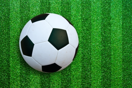 Soccer ball on green grass. photo
