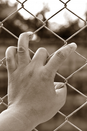 Hände eines Mannes in einem Käfig. Standard-Bild