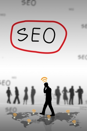 SEO on a white board with the business. Stock Photo - 17969794