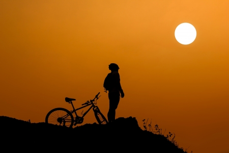 Bicycle on a cliff. Stock Photo
