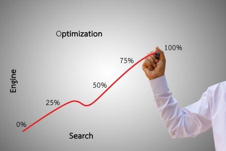 web traffic: A business man, business charts, seo.