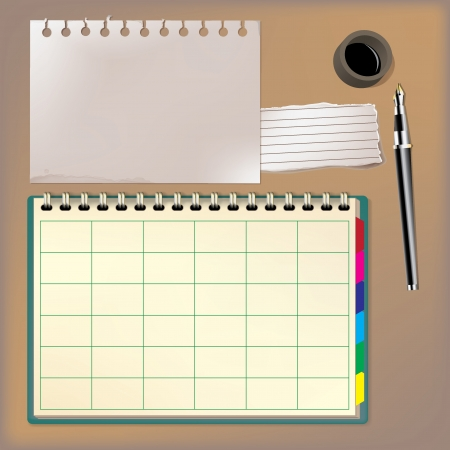 Blank notebook and pen vector illustration  Stock Vector - 20748062