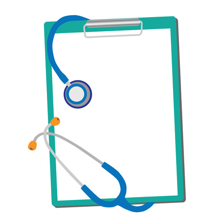 clipboard isolated: medical stethoscope with form blank isolated on white background