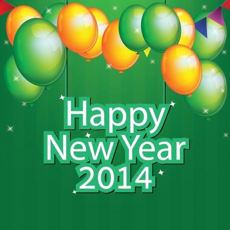 Gelukkig Nieuwjaar 2014.vector illustratie.