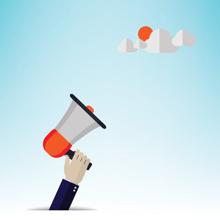 Mobile business concept illustration megaphone. Vector