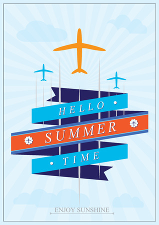 sommer: Sommer aviation tourism. vector Illustration